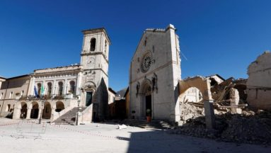 Norcia, la cattedrale di San Benedetto dopo il sisma